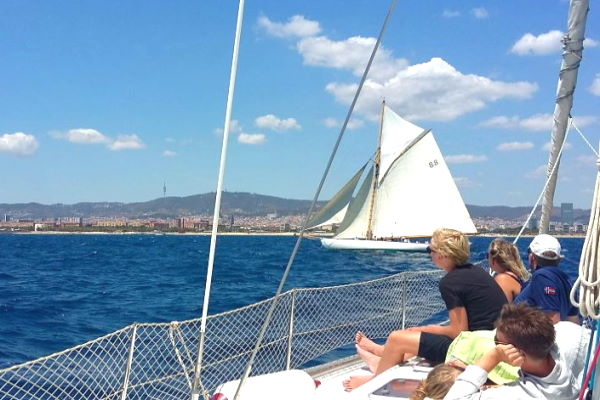 Sailing in front of Barcelona city
