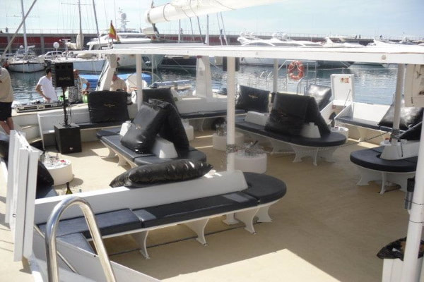 Deck of the catamaran party