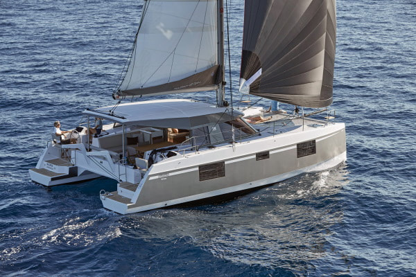 Catamaran for rent sailing at sea