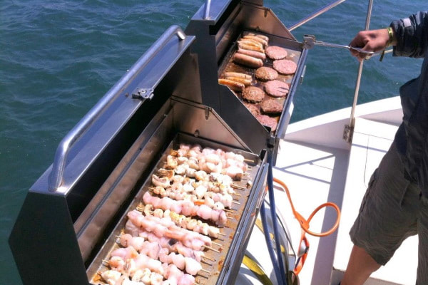 Barbecue on board the catamaran