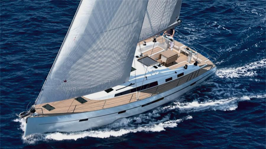 Sailing boat for rent navigating