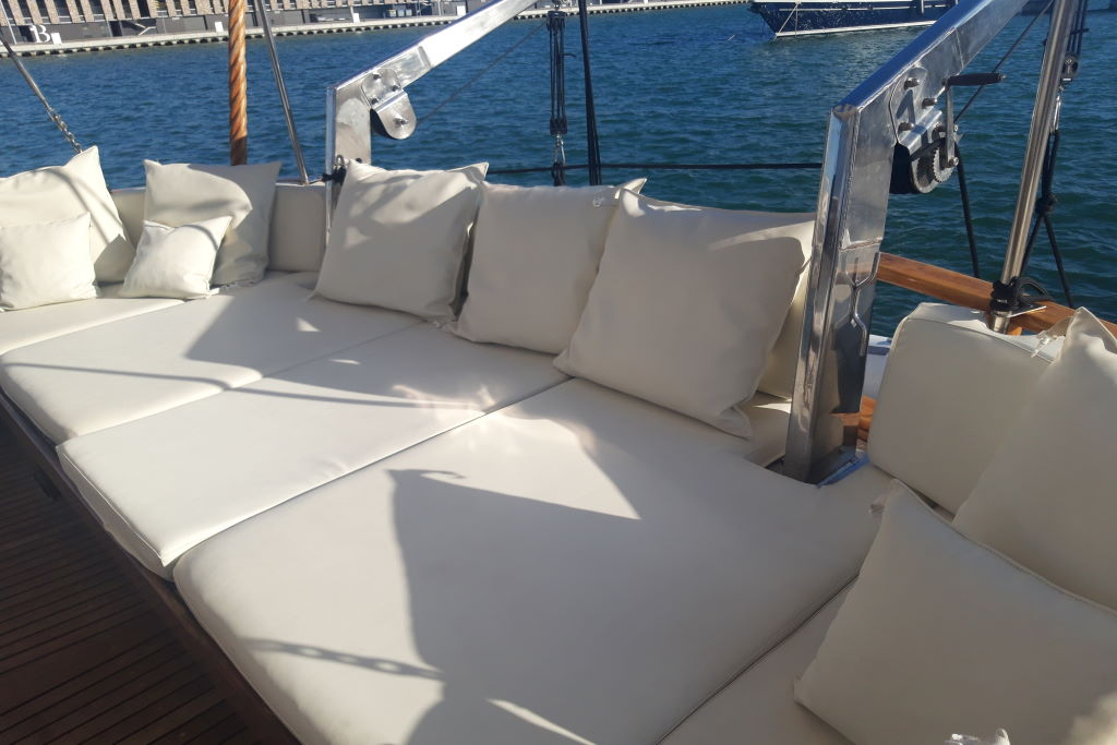 chill out area on the schooner for events in Barcelona