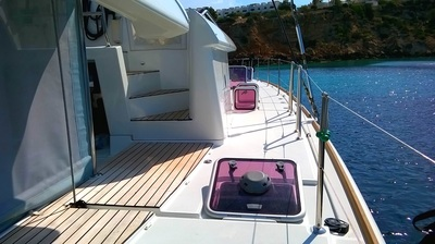View of the deck from the back of the catamaran